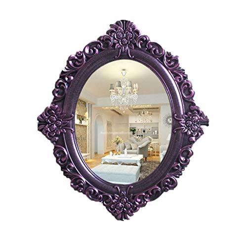 Schminkspiegel Wandspiegel Dekor Oval, Wandmontierter Spiegel Vintage-Stil Massivholz Umrahmt Kosmetikspiegel für Badezimmer Schlafzimmer Kommoden und Antiquität Prinzessin Dekor (Color : Purple)