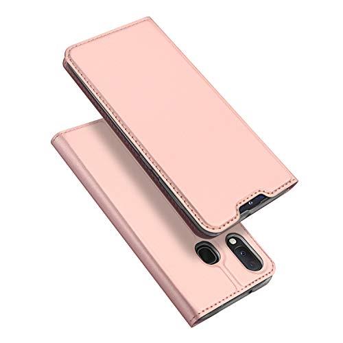 DUX DUCIS Hülle für Samsung Galaxy A20e, Leder Klappbar Handyhülle Schutzhülle Tasche Hülle mit [Kartenfach] [Standfunktion] [Magnetisch] für Samsung Galaxy A20e (Rose Golden)