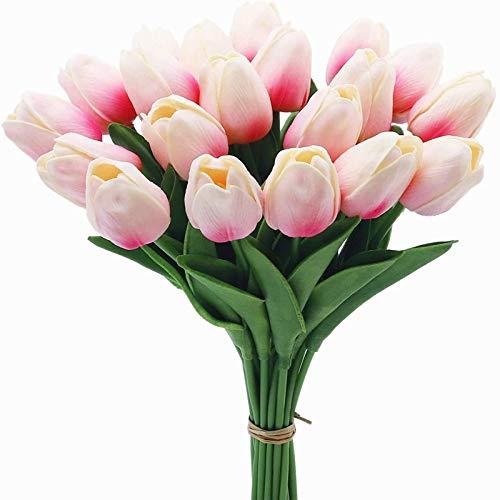 YYHMKB 20 Piezas de Tulipanes Artificiales, 13,4 Pulgadas Real Touch PU Tallo de imitación de látex Ramo de Flores para la decoración del Banquete de Boda del jardín del hogar, Rosa Claro