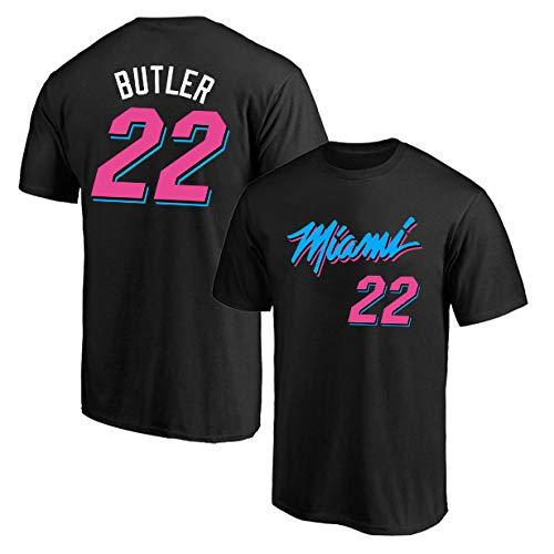 LSJ-ZZ Sport T-Shirt NBA Miami Heat # 22 Butler Retro Maniche Corte Abbigliamento Casual, Sciolto Traspirante Girocollo Pallacanestro Jersey,A,XXL:180~185cm