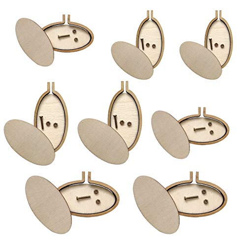 Gnognauq 8pcs Oval Mini Embroidery Hoops Wood Frame Kit Cross Stitch Necklace