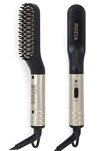 Rozia Beard Straightener Brush for Men -2 in 1 Portable Ionic Hair Straightening Brush Upgraded Professional Beard/Hair Straightener Comb with Ceramic Heated & Anti-Scald Feature for Home Travel, Black