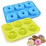 LURICO Silikon Donut Formen, 2 Stuck Silikon Donut Backform, Antihaft Donut Backblech für Kuchen Keks Bagels Muffins, Geeignet für Geschirrspüler, Backofen, Mikrowelle, Kühlschrank
