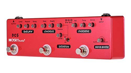 YMUZE Mosky Multi Effects Pedal Buffer + Booster + Overdrive + Distortion + Chorus + Delay Effects 6 Effects Pedal In 1 Unit (DC5)