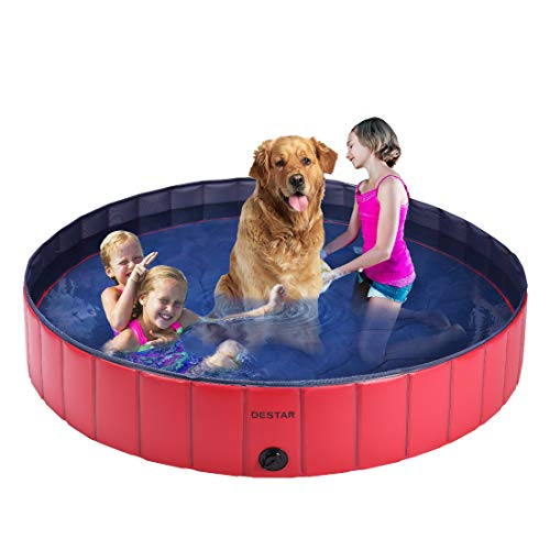 DEStar PVC Foldable Pet Swimming Pool Outdoor Bathtub with Protective Lining for Dogs and Kiddies 4ft Diameter Red