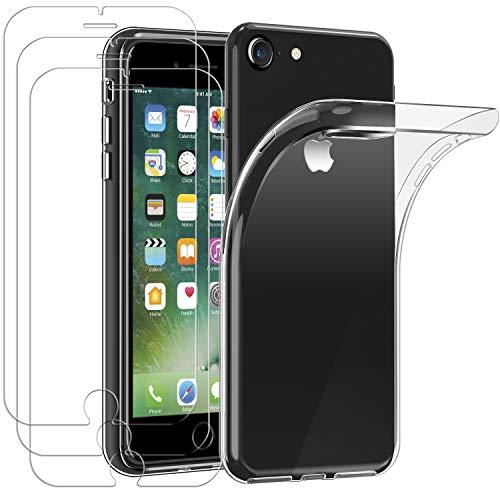 ivoler Hülle für iPhone SE 2020 / iPhone SE 2 / iPhone 8/7 / 6S / 6 + [3 Stück] Panzerglas, Durchsichtig Handyhülle Transparent Silikon TPU Schutzhülle Case mit Premium Hartglas Schutzfolie Glas