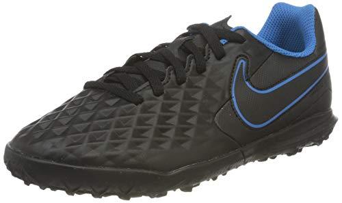 Nike Jr. Tiempo Legend 8 Club TF Football Shoe, Black/Black-Light Photo Blue-Cyber, 35 EU
