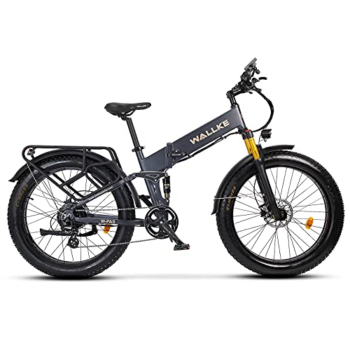 W WALLKE X3 Pro Electric Bike 750W Ebike Folding 26 inch Fat Tire Snow Bicycle, 28MPH Adults Ebike with Removable 48V 14AH Lithium Battery,Professional 8 Speed Gears(Gray)