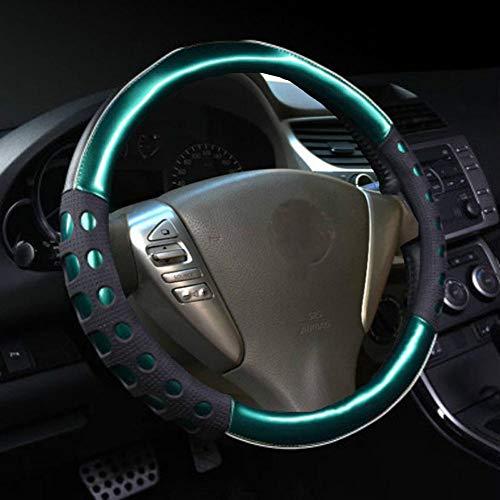 Istn Unisexs hochwertiger langlebiger Kunstleder Material und Rutschfestigkeit Universal Lenkradabdeckung Grün Auto Zubehör Dekor
