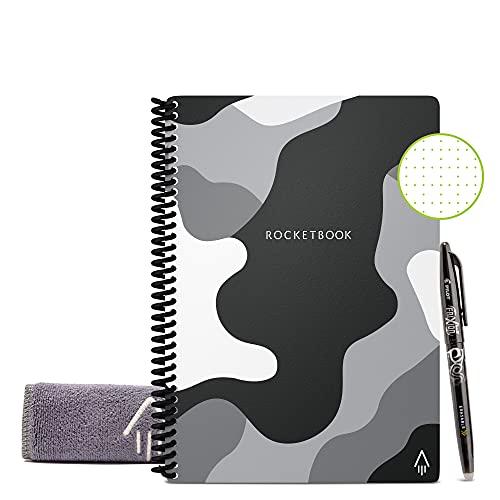 Rocketbook Core Mini - Block Notes, Camo, Tascabile, Cancellabile, Riutilizzabile, Compatibile con Sistemi Cloud, Taccuino Digitale, Penna Pilot Frixion e Panno Inclusi (A6, Puntinato)