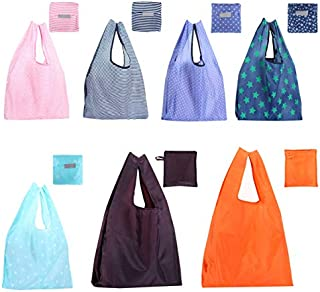DSLONG 8Pack Large Capacity Shopping Folding Grocery Tote Bags, Colorful Large 22 LBS X-Large 44.1LBS Reusable Eco-Friendl...