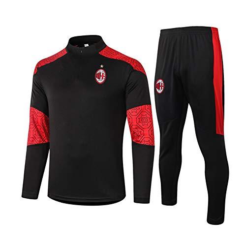 2021 AC Milan Fußballtraining Jersey, Tracksuits 2 Stück Sets High Neck Langarm-Sweatshirt Set-Männer Fußball Wear Beste Geburtstags-Geschenk XXL
