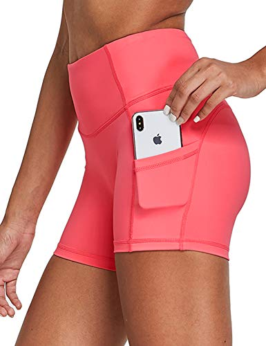 FitsT4 Women's 5' High Waist Yoga Biker Shorts Pocketed Running Home Workout Shorts Coral Size S