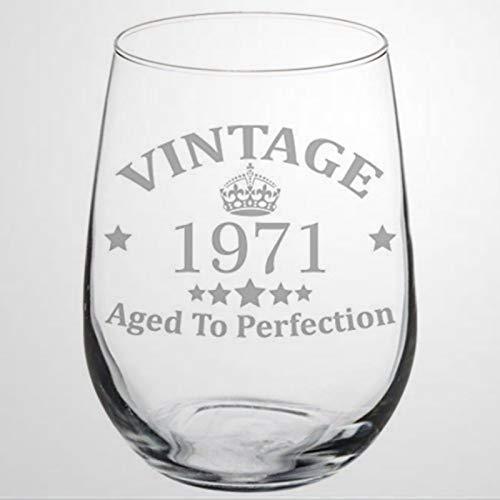 Copa de vino para 46 cumpleaños, vintage, envejecida a la perfección, 1971,...