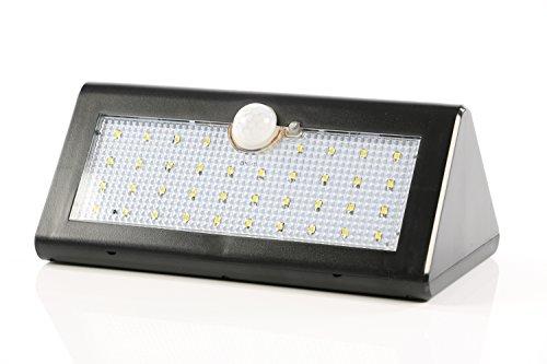 Wandlamp op zonne-energie met bewegingsmelder, IP65 – lichtsterk, met 38 leds, grote accu, buitenlamp, wandlamp, energiebesparend en waterdicht.