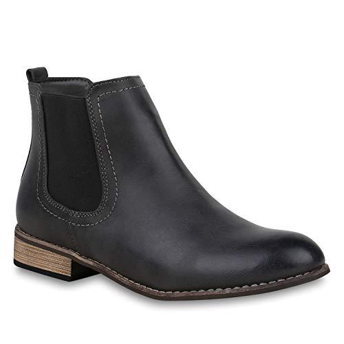 stiefelparadies Damen Stiefeletten Chelsea Boots Gefütterte Ankle Booties Leder-Optik Schuhe Klassisch 121389 Grau Agueda 36 Flandell
