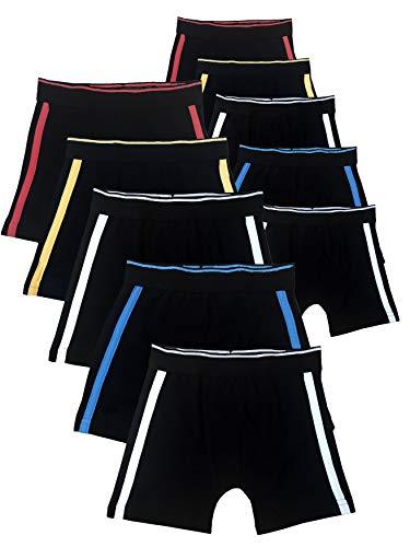 SGS Boxershorts Jungen Unterhosen Baumwolle Kinderunterwäsche Set (134-140, 10er Pack Streifen)