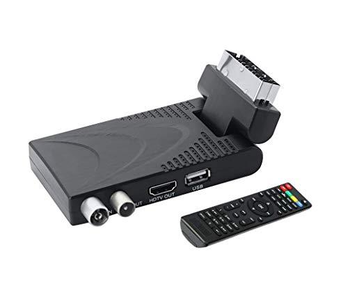 Scopri offerta per Decoder Digitale Terrestre HD Mini DVB-T2 Hevc H.265 10-bit 1080P USB HDMI Presa Scart 180° per Televisione Ricevitore TV Adatto a Nuovo Segnale in Vigore