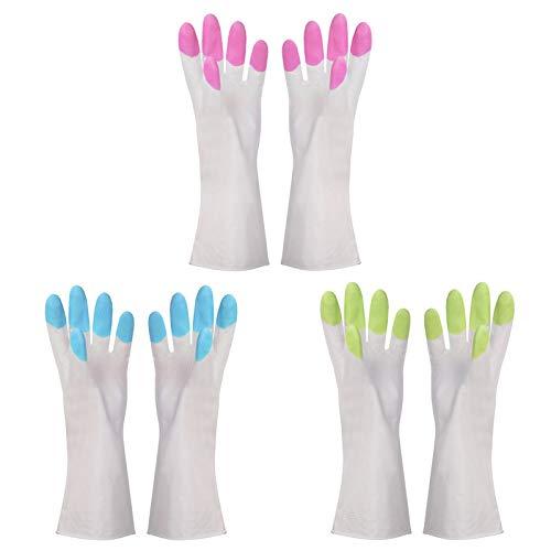 DUDUO-Gloves Guanti da Lavoro Guanti di Pulizia in Gomma per Cucina, Impermeabile Riutilizzabile, Guanto in Lattice Impermeabile per Lava stoviglie in PU Grande 10 Pezzi (Color : Pink)