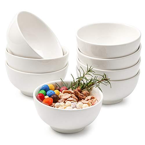 EZOWare 8er Set Schalen, Runde Schüsseln aus Porzellan, Dessertschalen, Snackschale, Servierschale, Müslisschale - 440 ml, Weiß