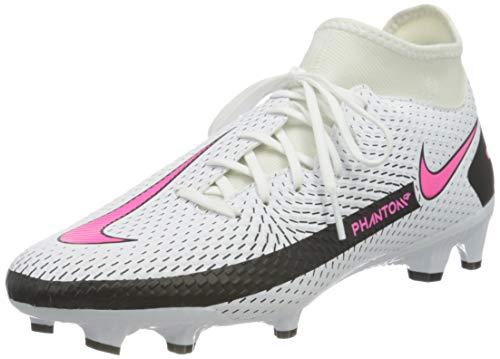 Nike Unisex Phantom Gt Academy Dynamic Fit FG/MG Soccer Shoe, White/Pink Blast-Black-Black, 44 EU