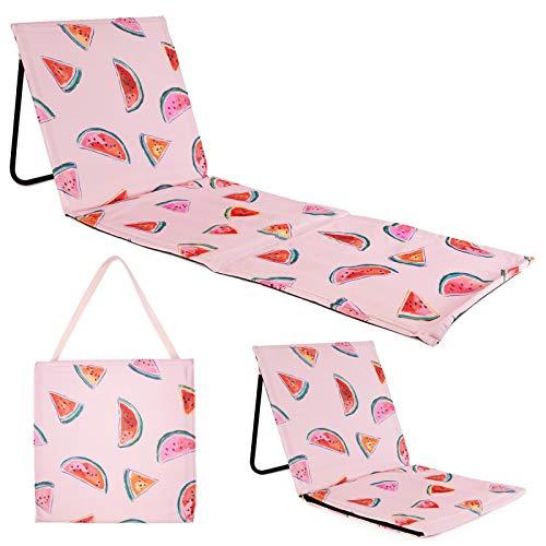 Just be… Strandmatte mit Rückenlehne. Mit Melonen Muster, leicht klappbar, als Decke für draußen und als Strandliege geeignet.