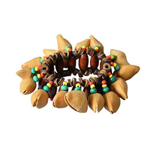 TOPmountain afrikanischen Trommeln Handschmuck - einzigartige afrikanische Nussschalen knistern Armband elastische Perlen Kette Hand Dekor