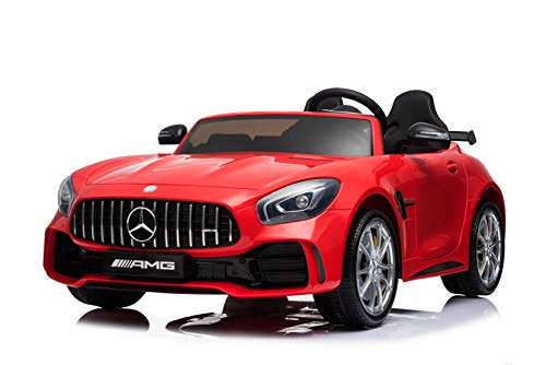 First Drive Mercedes Benz GTR Green 2 Seater - 12v Kids Cars - Dual Motor Electric Power Ride On Car with Remote, MP3, Aux Cord, Led Headlights and Rear Lights, and Premium Wheels