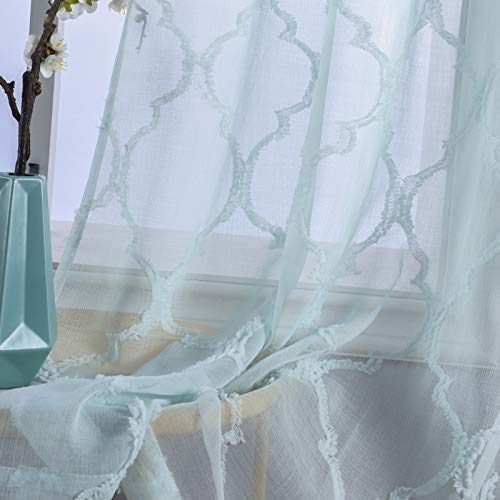 """iMINO Semi Geometric Aqua Green Sheer Linen Faux Curtains 84 inches Long for Lingroom,Translucence Grommet Top Burnout Voile Curtains for Bedroom, 2 Pieces of Panels 54"""" Width Mint"""