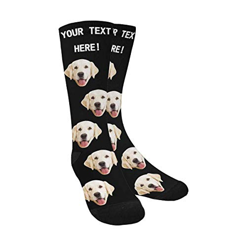 Custom Face Socks Prime Black Crew Socks with Personalized Faces on Them with Your Text