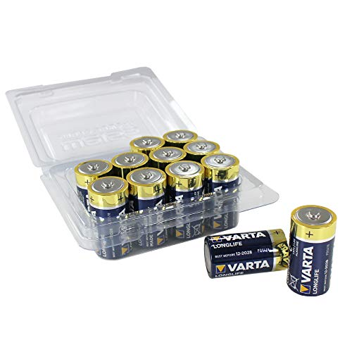 Varta Longlife Batterie C Baby Alkaline Batterien LR14 - 12er Pack in wiederverschließbarer original WEISS - more power + Batteriebox