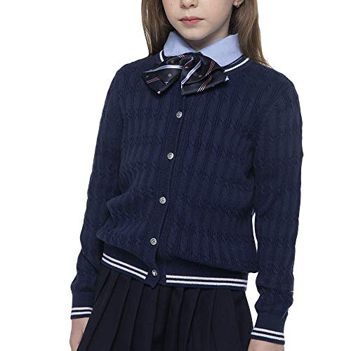 BOBOYOYO Girls Cardigan Kids School Uniform Cloth Casual Weekend Outfit Long Sleeve Cotton Knit for Size 5-14Y Navy