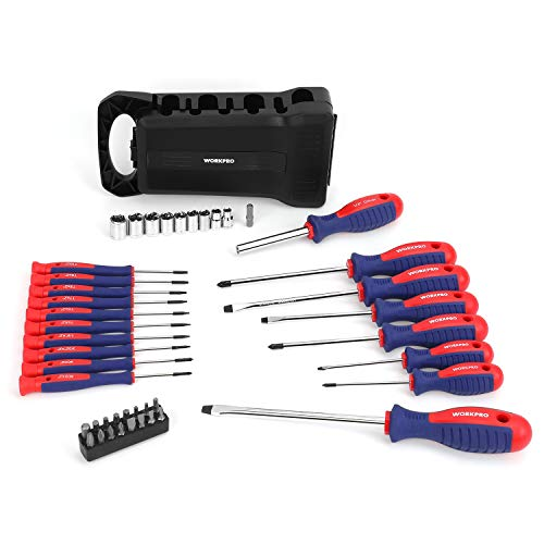 WORKPRO 45-Piece Magnetic Screwdriver Set- Precision, Slotted & Phillips Screwdriver Kit Includes Bits- Premium Tool Set with Sockets & Folding Rack