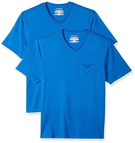 Amazon Essentials - Pack de 2 camisetas de corte holgado con cuello en V y bolsillo en el pecho para hombre, Azul (Imperial Blue Imp), US L (EU L)