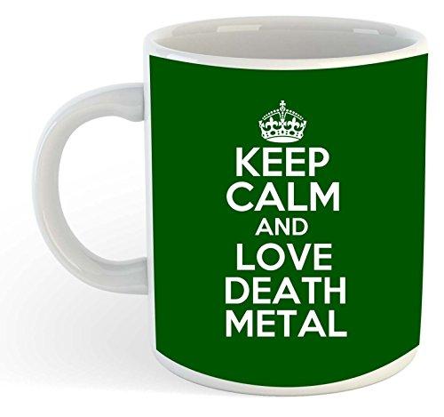 Taza de metal, diseño con texto en inglés 'Keep Calm And Love Death', color verde