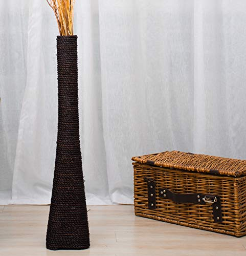 Leewadee Jarrón de Suelo Grande jarrón Alto Hecho a Mano de bambú y Rafia, contenedor de pie para Ramas Decorativas, 75 cm, Negro