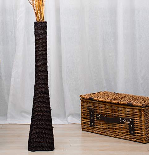 Leewadee Große Bodenvase für Dekozweige hohe Standvase Design Holzvase 75 cm, Wasserhyazinthe, schwarz