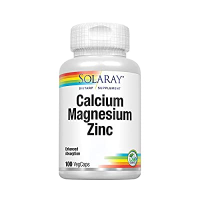 Solaray Calcium, Magnesium, Zinc | High Absorption with Glutamic Acid | Healthy Bones, Teeth, Nerve, Muscle, Heart & Immune Function Support