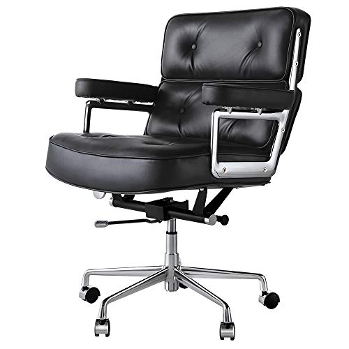 Genuine Leather Office Chair with Aluminum Alloy Base and Frame, Mid-Back Classic Executive Adjustable Rolling Swivel Chair, High-Grade Furniture Computer Desk Chair for Office & Study (Black)