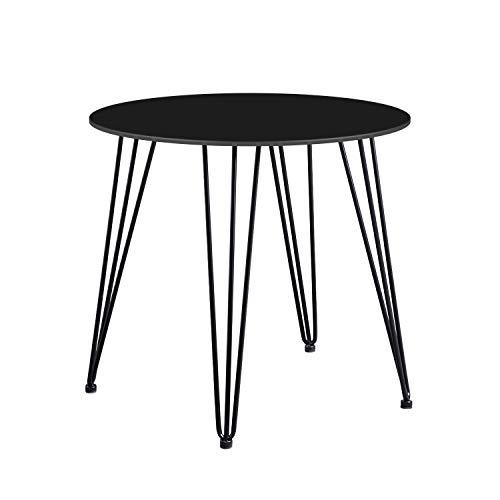 DORAFAIR Runder Esstisch Küchentisch, MDF Esszimmertisch Kaffeetisch Beistelltisch mit Haarnadelbeine, 80 * 75 cm, Schwarz