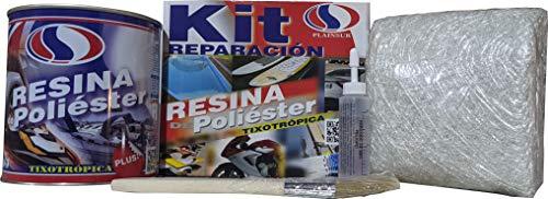 Plainsur - Kit De Reparacion Resina De Poliester Mas Fibra De Vidrio (1 Kg, Caja)