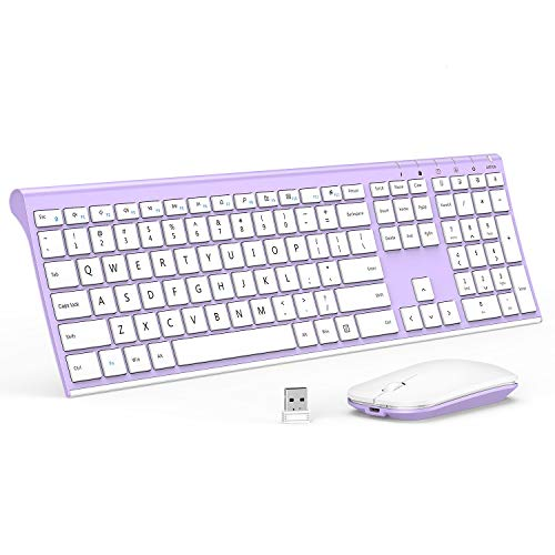 Rechargeable Wireless Keyboard Mouse, Jelly Comb 2.4GHz Ultra Slim Full Size Wireless Keyboard Mouse Combo for Laptop, Notebook, PC, Desktop, Computer, Windows OS (White and Purple)