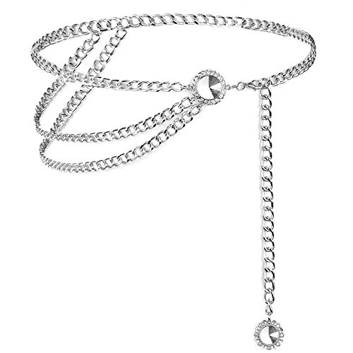 Lamdgbway Multi Layer Cintura Cadena Cinturón de Metal Para Vestido Para Mujer Cristal Plata 110CM