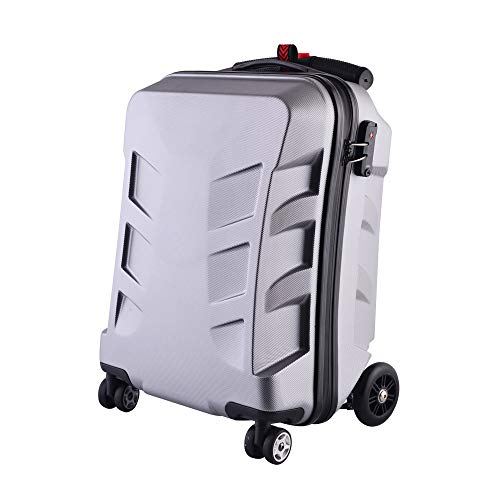21' Scooter Luggage,Foldable Scooter,Adjustable Handle for Person Whose Height above 1M,Aluminum Suitcase Travel Trolley Case (Silver)