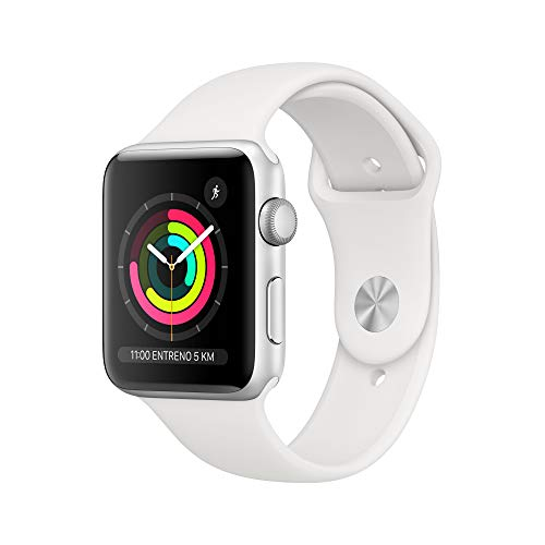 Apple Watch Series 3 (GPS, 42mm) Aluminio en Plata - Correa Deportiva Blanco