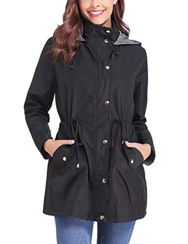 iClosam Womens Regenjassen Waterdichte Jas Lichtgewicht Regenjas Outdoor Wandelen Hooded Trench Coat