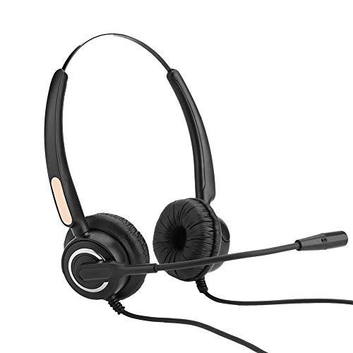 Callcenter-headset, ruisonderdrukkende microfoon met volumeregeling en dempen, voor professionele telefooncel, VOIP-netwerktelefoon en andere vaste telefoons, helder geluid en minder ruis