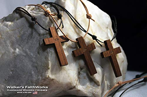 """Walnut Wood Cross & Adjustable Dark Brown Leather Necklace for Christian Men and Women. Simple 2"""" wooden cross is stamped with the christian fish (ichthys). Handmade in the USA!"""