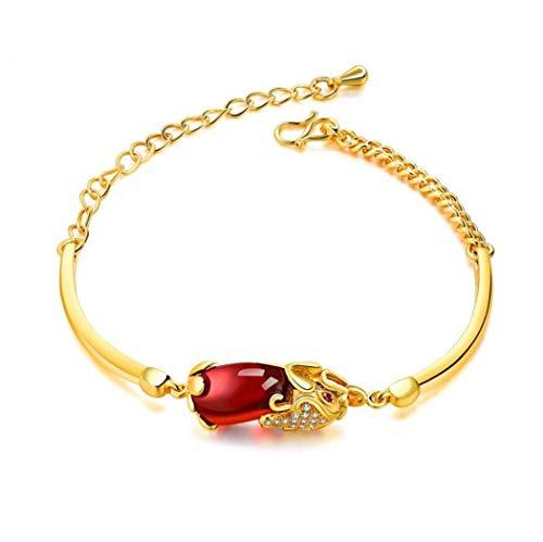 1 stuks armband dames meisjes vrouwen armband verguld met glitter zirkonia robijn tapijt troepen mode charm armband, verstelbaar, anti-allergie, (goud)