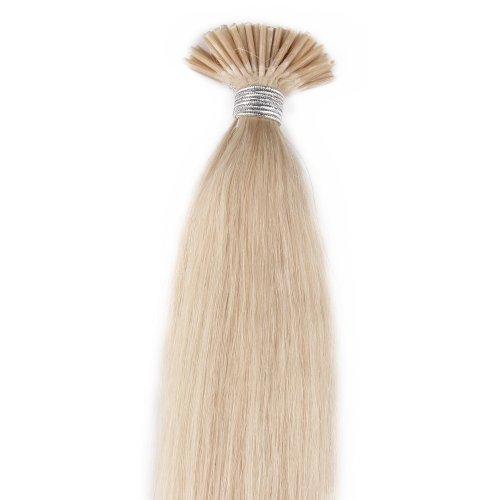 Beauty7 Extension de Cheveux 50 meche Pose a Froid Cheveux Humain Naturel Raides Couleur Blond Platine #60 - Poids 25g - Longueur 46cm